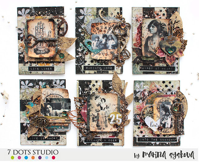 @marinasyskova #scrapbooking #atc #artisttradingcard #7dotsstudio #mixedmedia