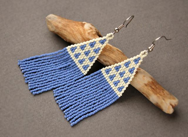 купить длинные серьги молодежные бижутерия из бисера этно стиль
