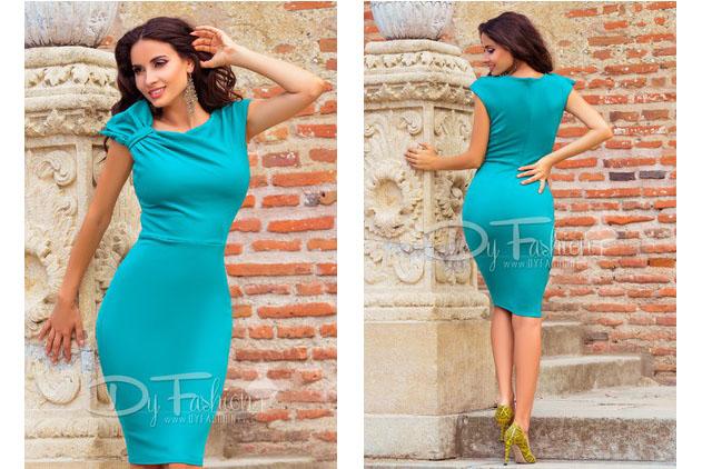 Rochie de ocazie midi verde eleganta fara maneci ieftina