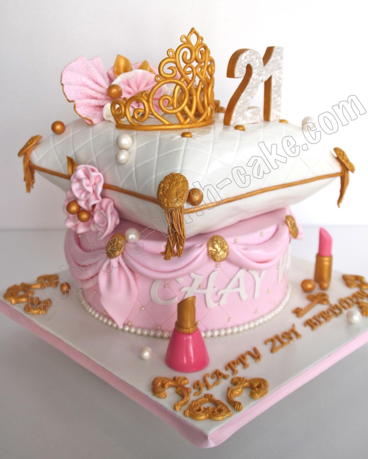 21st Birthday Princess Tiara And Pillow 2 Tier Cake