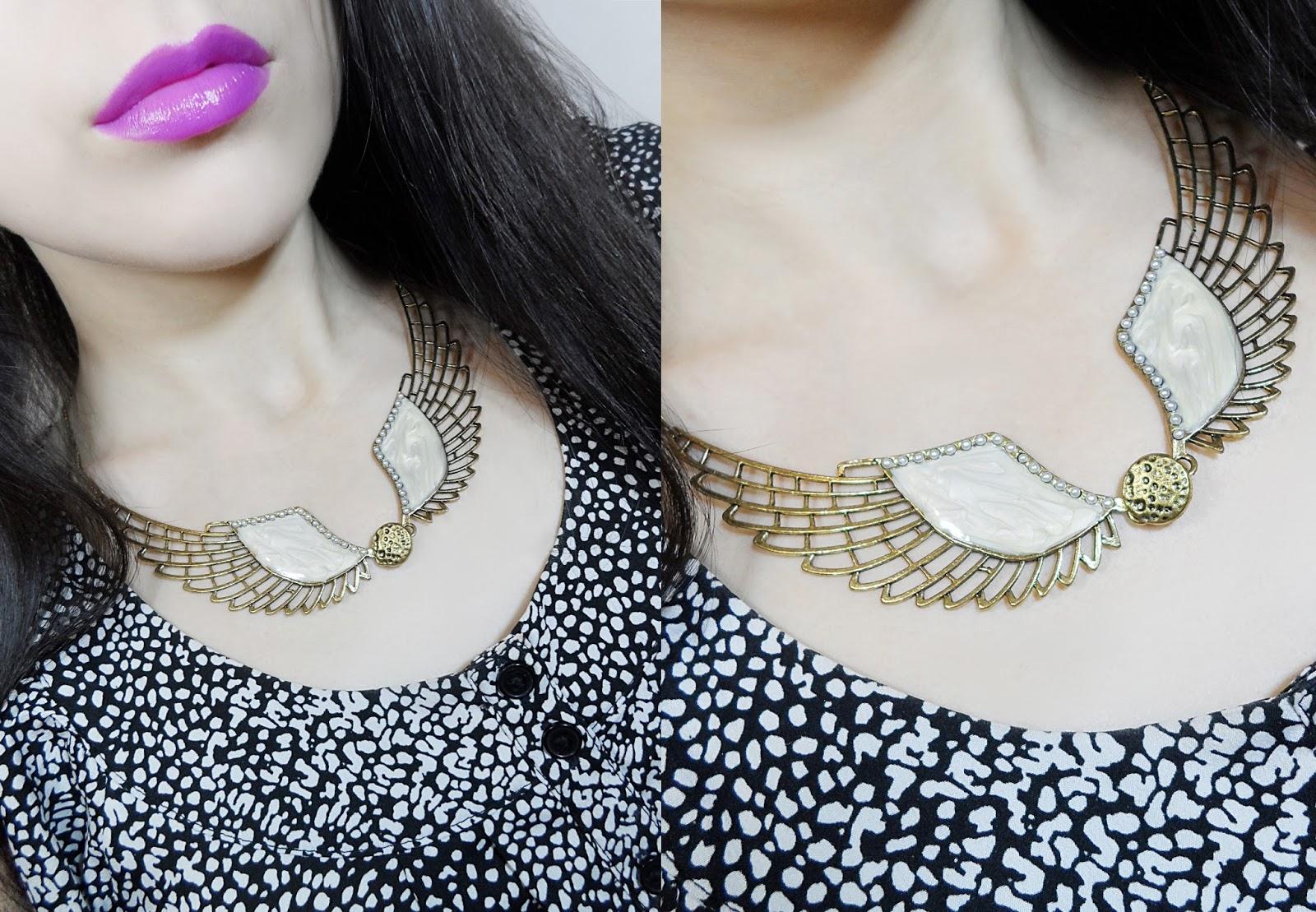 fblogger fashion vintage rosegal Steampunk Angel Wing Statement Necklace blogger review liz breygel