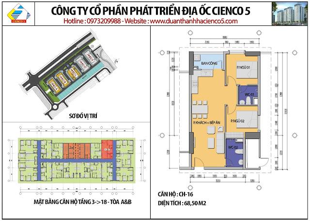 Mặt bằng căn hộ CH16 tầng 3-18 tòa HH02A&B