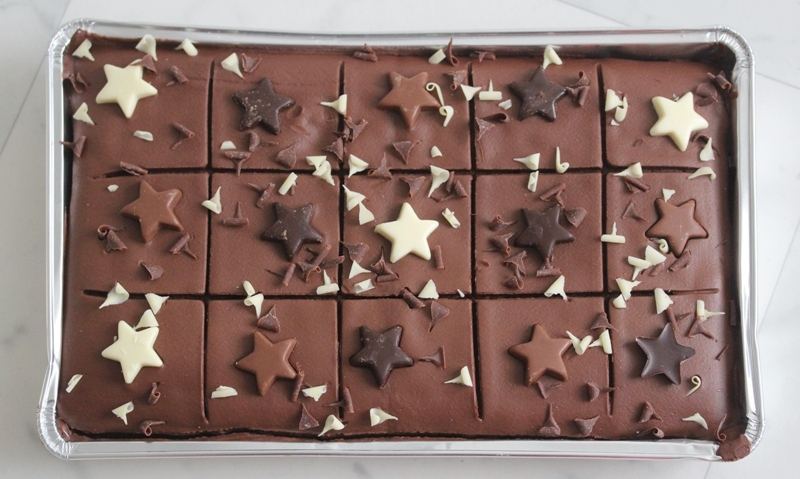 Marks and Spencer chocolatey piece of cake chocolate sponge cake fudge star curls in tin tray