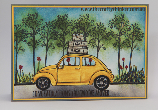 SU, Beautiful Ride, Moving card, sponging and masking, partial stamping