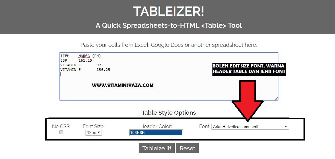 Cara Buat Table Mudah Dekat Blog