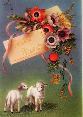 Vanha kortti. pääsiaistervehdys, lammas, karitsat