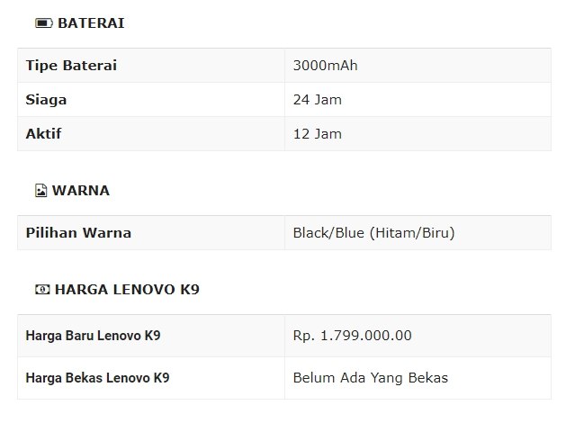 Spesifikasi Lenovo K9