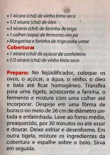 RECEITA DE BOLO DE VINHO