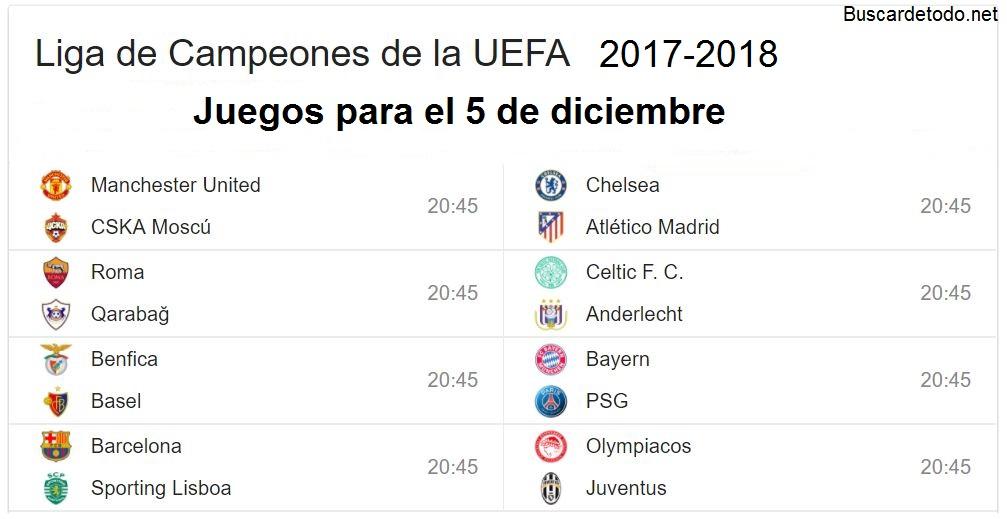 11- Calendario de juegos de la Champions League 2017-2018. Juegos de la Champions League el 5 de diciembre 2017