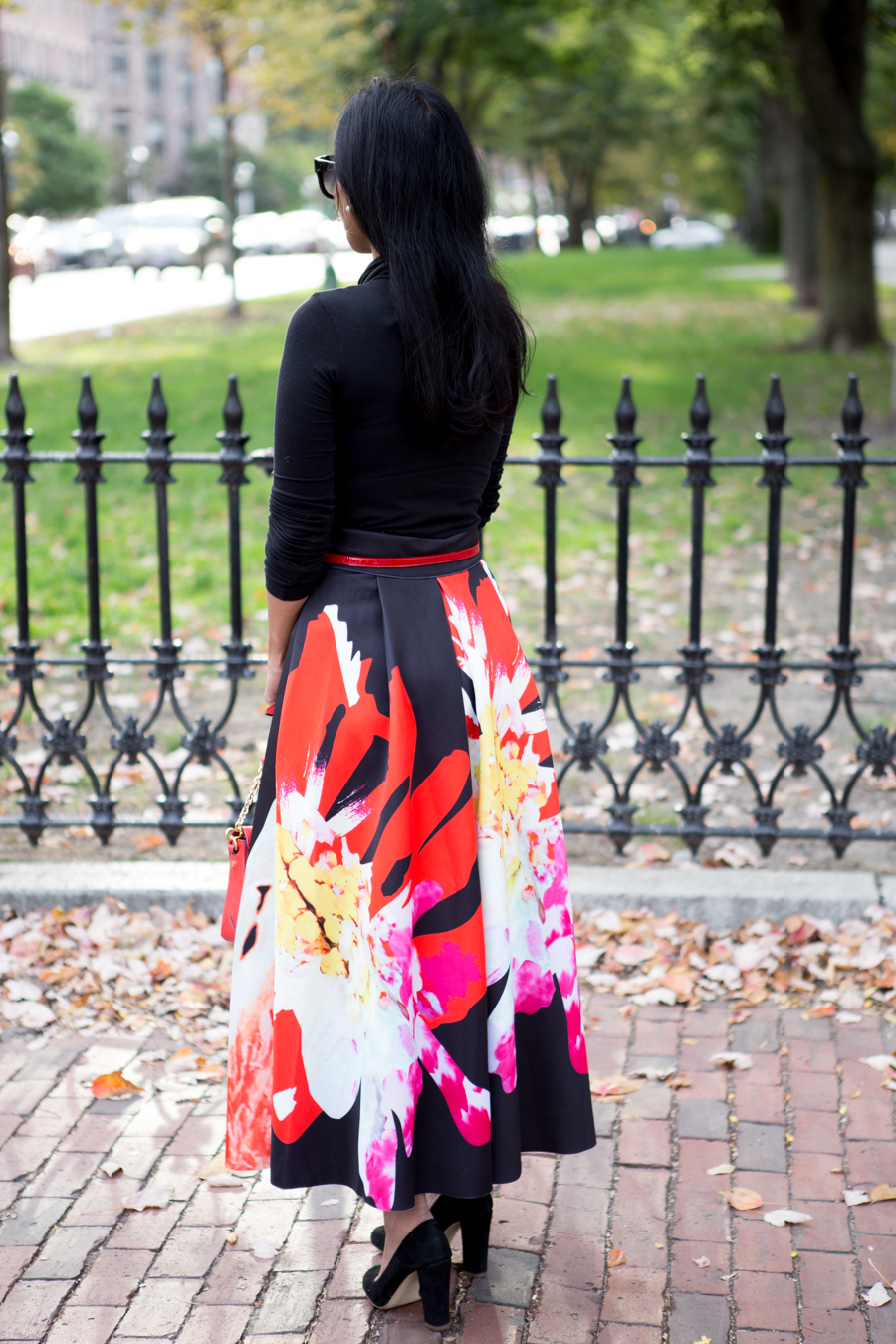 fall florals, black suede, red bag, party wear, party outfit, midi skirt, shein, jcrew factory, feminine style, office party, formal wear, occasion, fancy