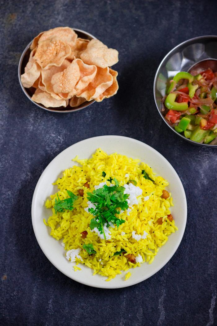 how to make chitranna, lemon rice recipe at One Teaspoon Of Life