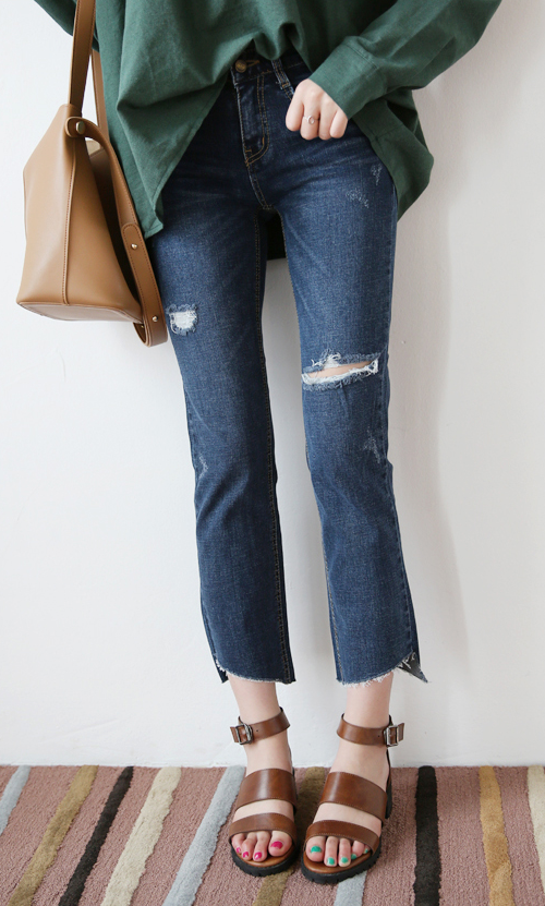 Cut Out Hem Slashed Jeans