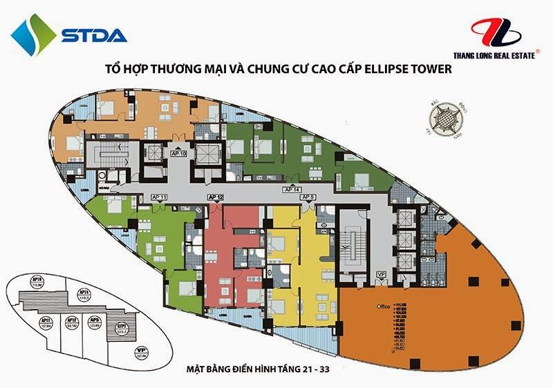Mặt bằng tầng 21 - 33 chung cư Ellipse Tower 110 Trần Phú