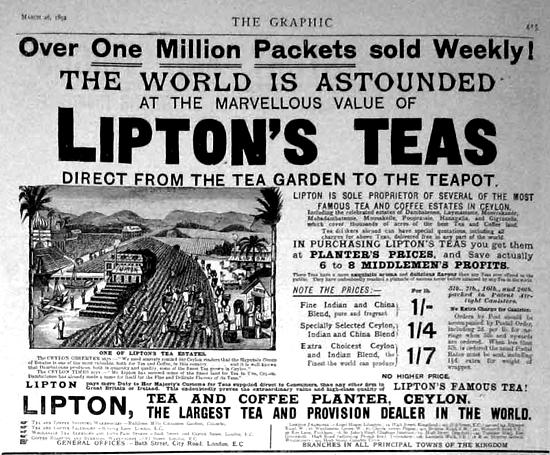 Lipton Tea Ad 1892