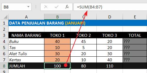 Rumus Excel Penjumlahan Ke Bawah Dengan Fungsi SUM