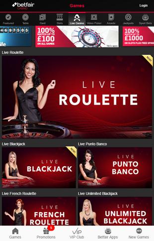 Betfair Live Casino Screen