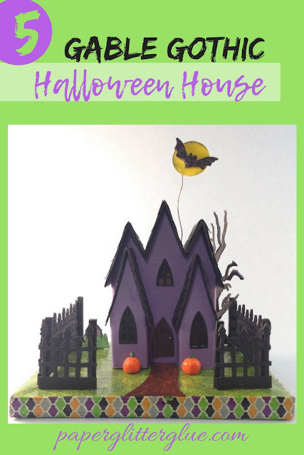 5 Gable Gothic Halloween House is a Halloween house made of paper and cardboard for Halloween decor #putzhouse #halloweenhouse #littlecardboardhouse
