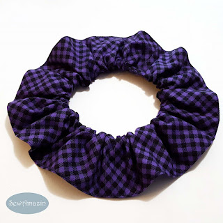 Halloween Pet Scrunchie, Checkered Plaid Purple and Black