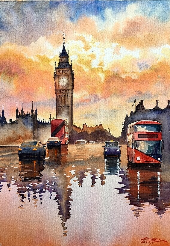 11-Wet-London-Igor-Dubovoy-A-Love-for-Travelling-and-Realistic-Watercolour-Paintings-www-designstack-co