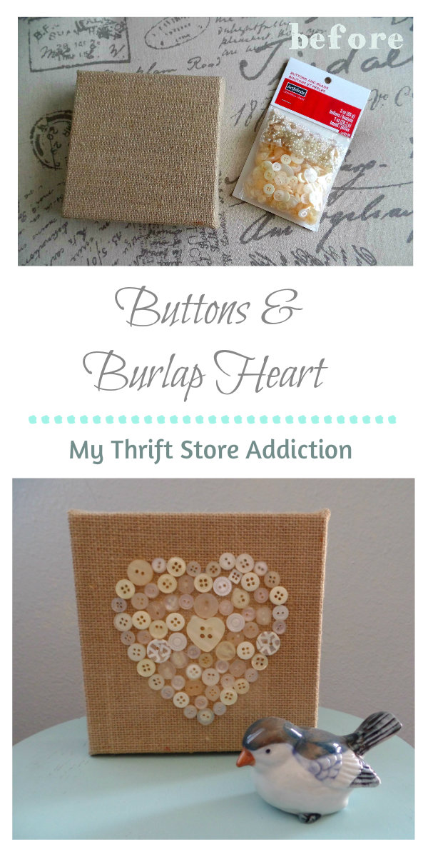 Buttons and burlap heart