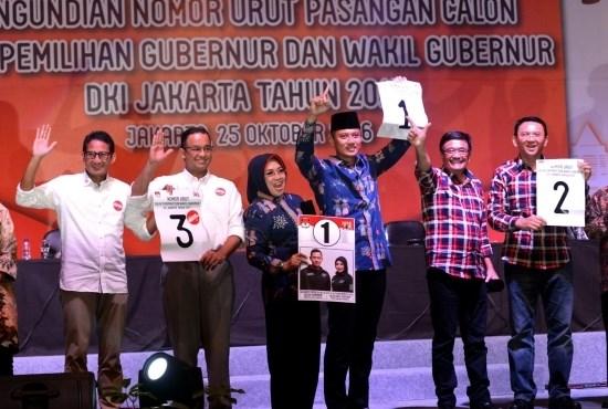 Nomor Urut Calon Gubernur DKI Jakarta (Cagub DKI) di Pilkada 2017