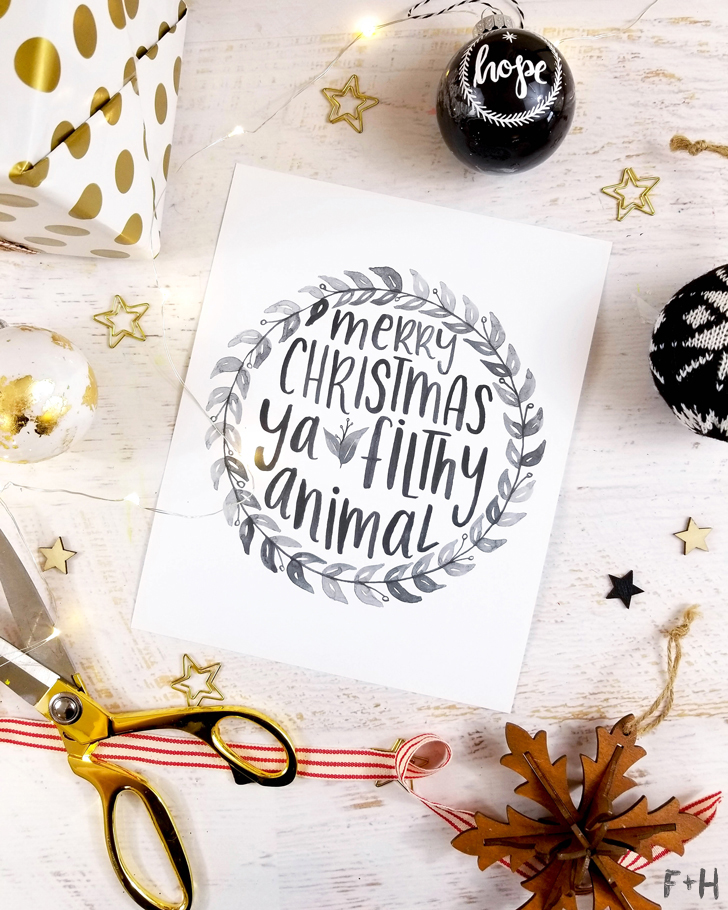 free hand lettered christmas card