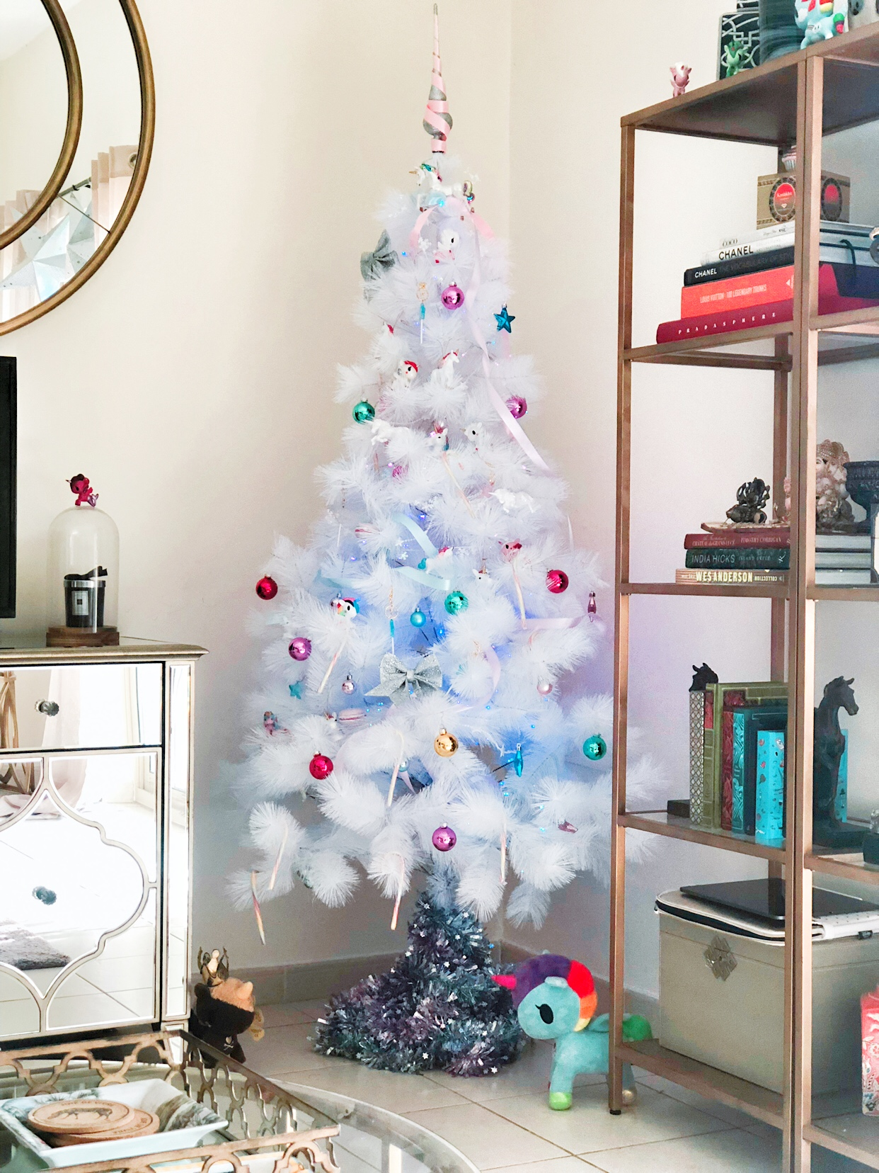 Pretty White Christmas Tree with magical Unicorn baubles