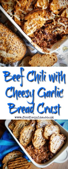 www.foodiequine.co.uk Minced Beef Chilli Con Carne with a Cheesy Garlic Bread Crust. Super easy to make and sure to be a hit with the whole family. Cheesy Garlic Bread and Chili Con Carne combine to make a dish that just screams comfort food.