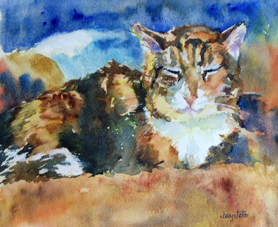 "Feline Painting,Cat Art ""My Blanket/My Chair"" by Georgia Artist Deanna Jaugstetter"