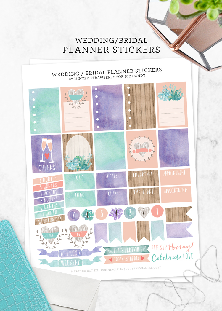free printable wedding planning stickers download