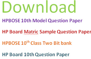 HPBOSE Matric Model Question Papers 2017 Blueprint
