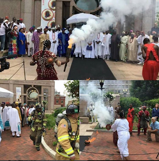 Drama as Ooni Of Ife causes major panic in Washington D.C., while performing a traditional rite