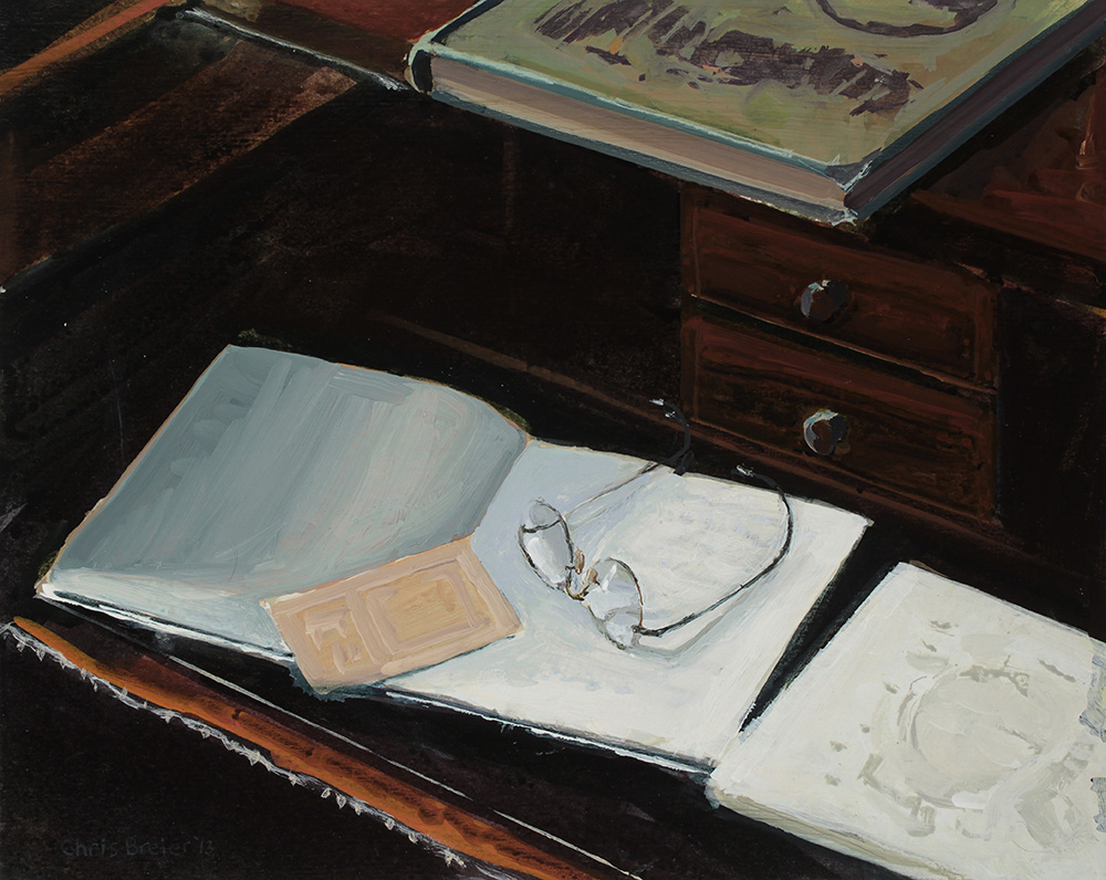 Acrylic painting of a desk at Sonnenberg Gardens with books and eyeglasses