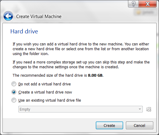 virtual box screenshots create hard drive