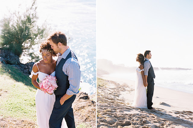the sun shines on this maui beach wedding