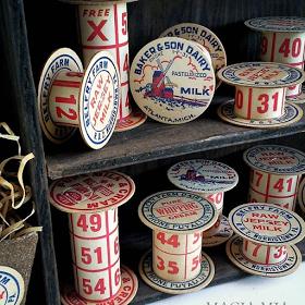 milk bottle caps and Bingo card spools