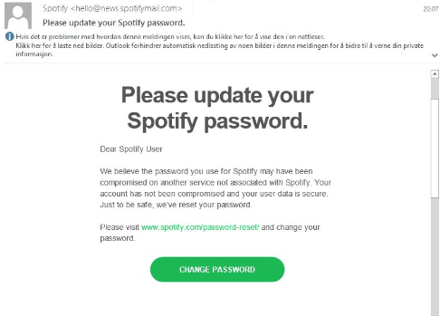 Spotify Phishing email example