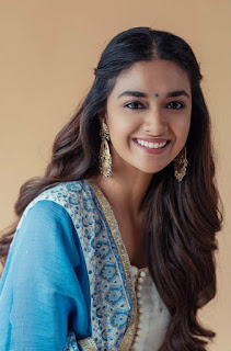 Keerthy Suresh in Blue Dress with Cute and Awesome Lovely Chubby Cheeks Smile 3