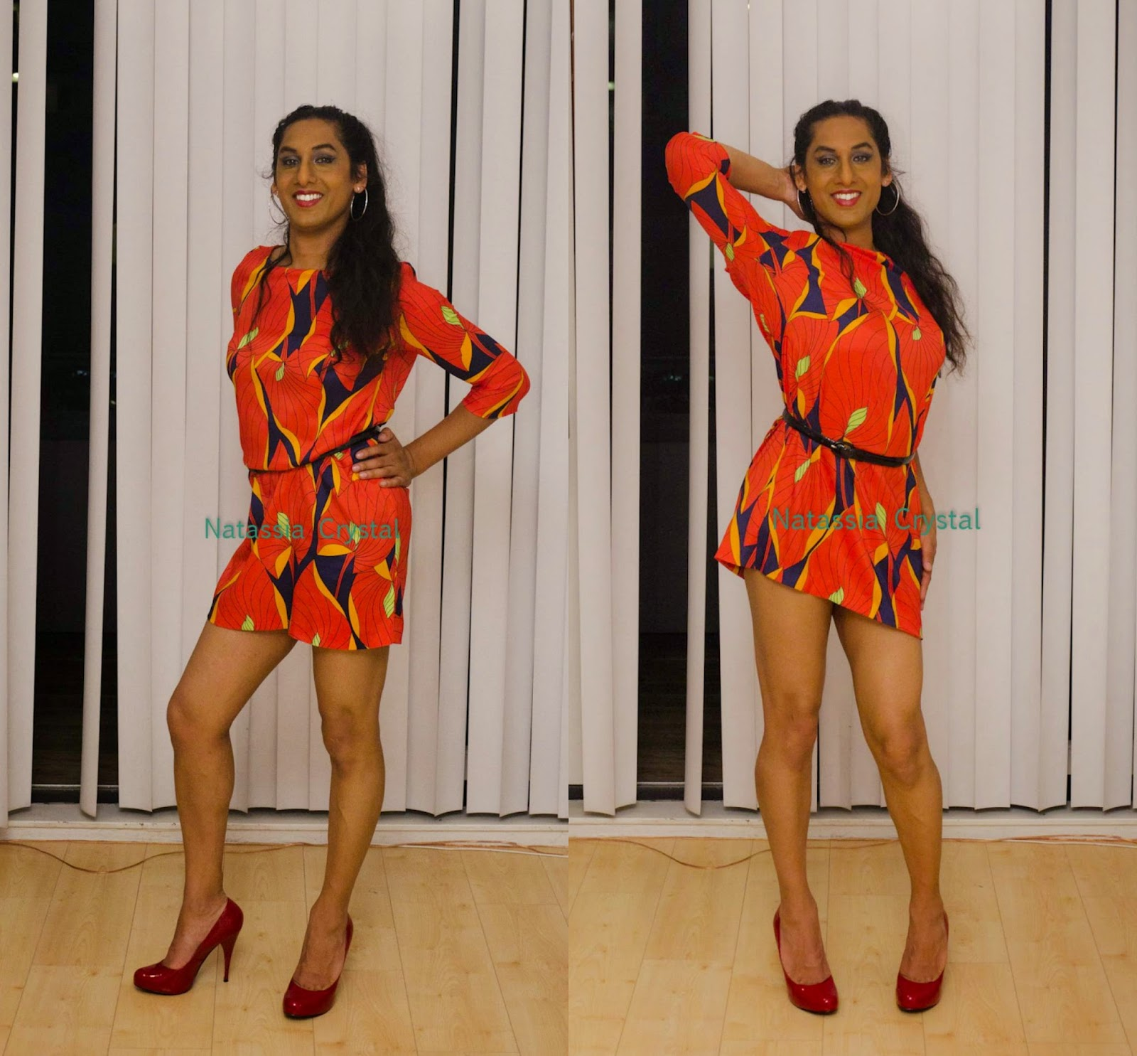 Natassia Crystal natcrys in groovy dress, red Steve Madden pumps