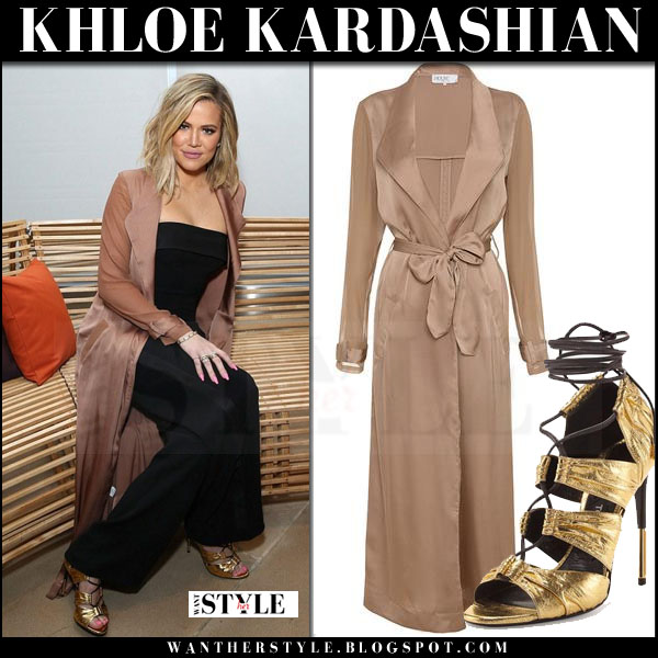 Khloe Kardashian in rose gold beige silky duster coat house of cb coryn what she wore