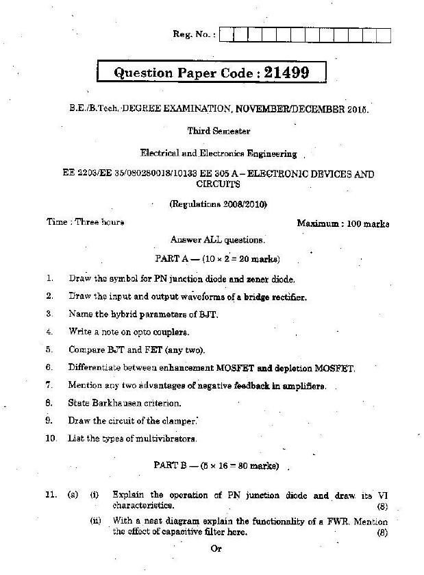 EE2203 Electronic Devices and Circuits Nov Dec 2015 Question
