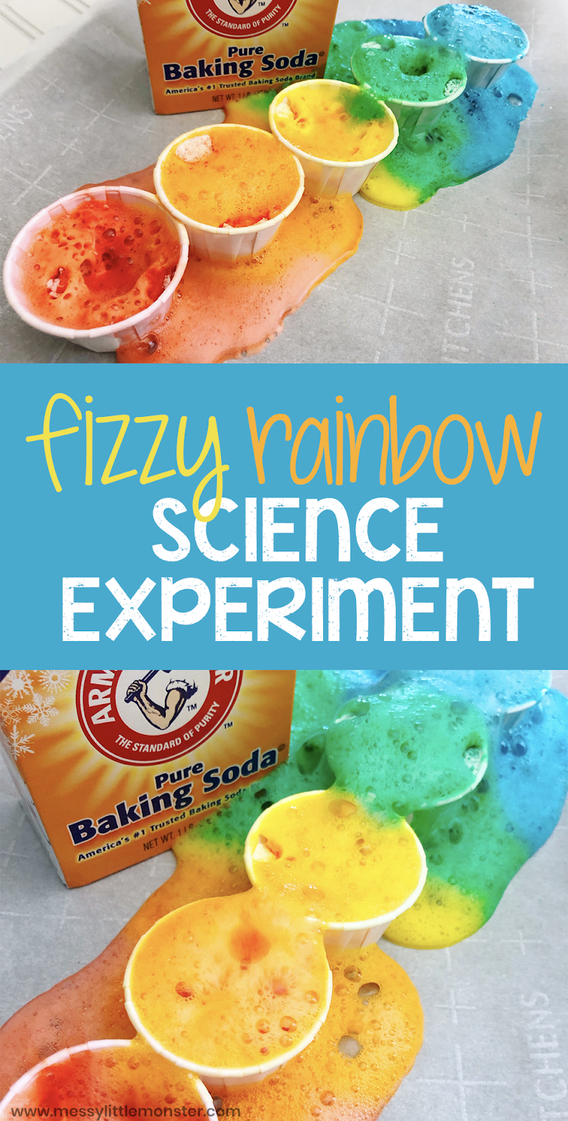 Baking soda and vinegar rainbow science experiment for kids. Toddlers and preschoolers will love this baking soda science experiment and it makes a fun rainbow activity for kids.