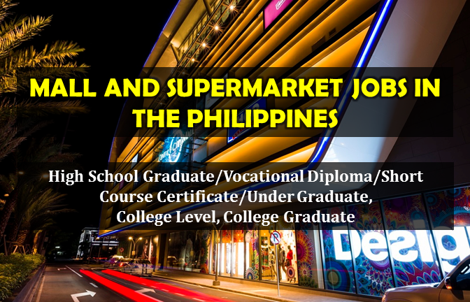 Are you looking for a local job in the Philippines? The following are job vacancies for you. If you are interested, you may contact the employer/agency listed below to inquire further or to apply.     JOB VACANCIES  1.  DINING STAFF & KITCHEN CREW - (NORTH & SOUTH AREA) Gringo Restaurant Min 1 year (1-4 Yrs Experienced Employee) Website: http://gringo.ph Telephone No.: 4110150 local 231 WORK LOCATION Address: 61 Quezon Avenue, Quezon City, NCR, Philippines  2. CREATIVE-SALES STAFF Central Book Supply, Inc. PHP 12,000 - PHP 13,000 Less than 1 year experience Website: http://www.central.com.ph Telephone No.: 372-3550 WORK LOCATION Address: 927 Quezon Avenue, Quezon City, Metro Manila, Philippines  3. WAREHOUSE SUPERVISOR (SM MALLS) Shopping Center Management Corporation (SM Supermalls) Min 1 year (1-4 Yrs Experienced Employee) Website: https://www.smsupermalls.com/ Telephone No.:  02 862 7150 WORK LOCATION Address: Coral Way, Pasay, Metro Manila, Philippines  4. ASSISTANT RESTAURANT MANAGER (SM TUGUEGARAO, SM CABANATUAN, SM BICUTAN) Savory Fastfood, Inc. PHP 16,000 - PHP 20,000 Min 1 year (1-4 Yrs Experienced Employee) Website: http://www.classicsavory.com Telephone No.:  09175907487 WORK LOCATION Address: #84 Sto. Domingo Street, cor N.S. Amoranto Street, Quezon City  5. WAREHOUSE CLERK - THE SM STORE MALL OF ASIA The SM Store (SM Mart Inc.) Less than 1 year experience Telephone No.: 917 4300 WORK LOCATION Address: J.W. Diokno Blvd. Mall of Asia Complex, CBP-IA Pasay City  6. SM PROMODIZER 7107 Construction & Consultancy Inc. (Recruitment Firm) Salary: PHP 12,000 - PHP 15,000 Less than 1 year experience WORK LOCATION Address: SM nationwide  7. RESTAURANT STAFF Agave Mexican Cantina PHP 12,766 - PHP 15,000 Min 1 year (1-4 Yrs Experienced Employee) Website: http://www.agavecantina.com Telephone No.: 4035865 WORK LOCATION Address: B3 Quadrant 3, 9th Ave. Bonifacio High Street Fort Bonifacio Taguig City  8. STAFF CASHIER Kidz Wisdom Playground Inc. PHP 10,000 - PHP 13,00
