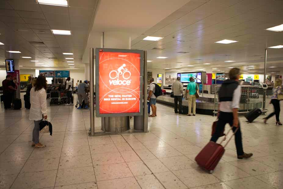 Veloce bike rental adverting London Gatwick