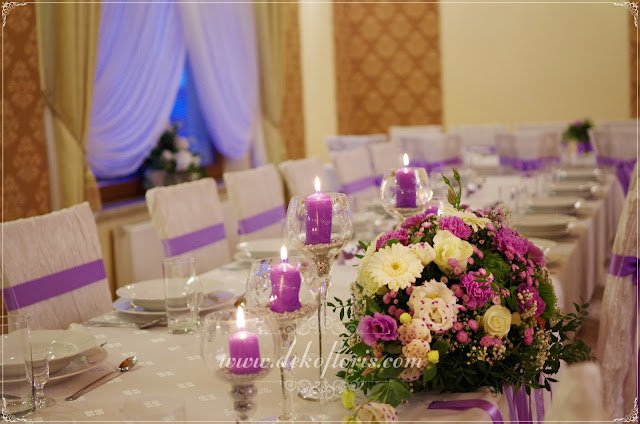 Fioletowa dekoracje weselne opolskie