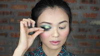 Sparkling Green New Year's Eve make up -Then put along the lashline as tight as possible.