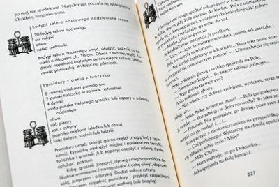 Przykładowe strony powieści z wplecionymi w tekst przepisami