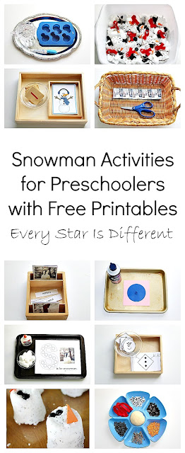 Snowman learning activites for preschoolers with free printables.