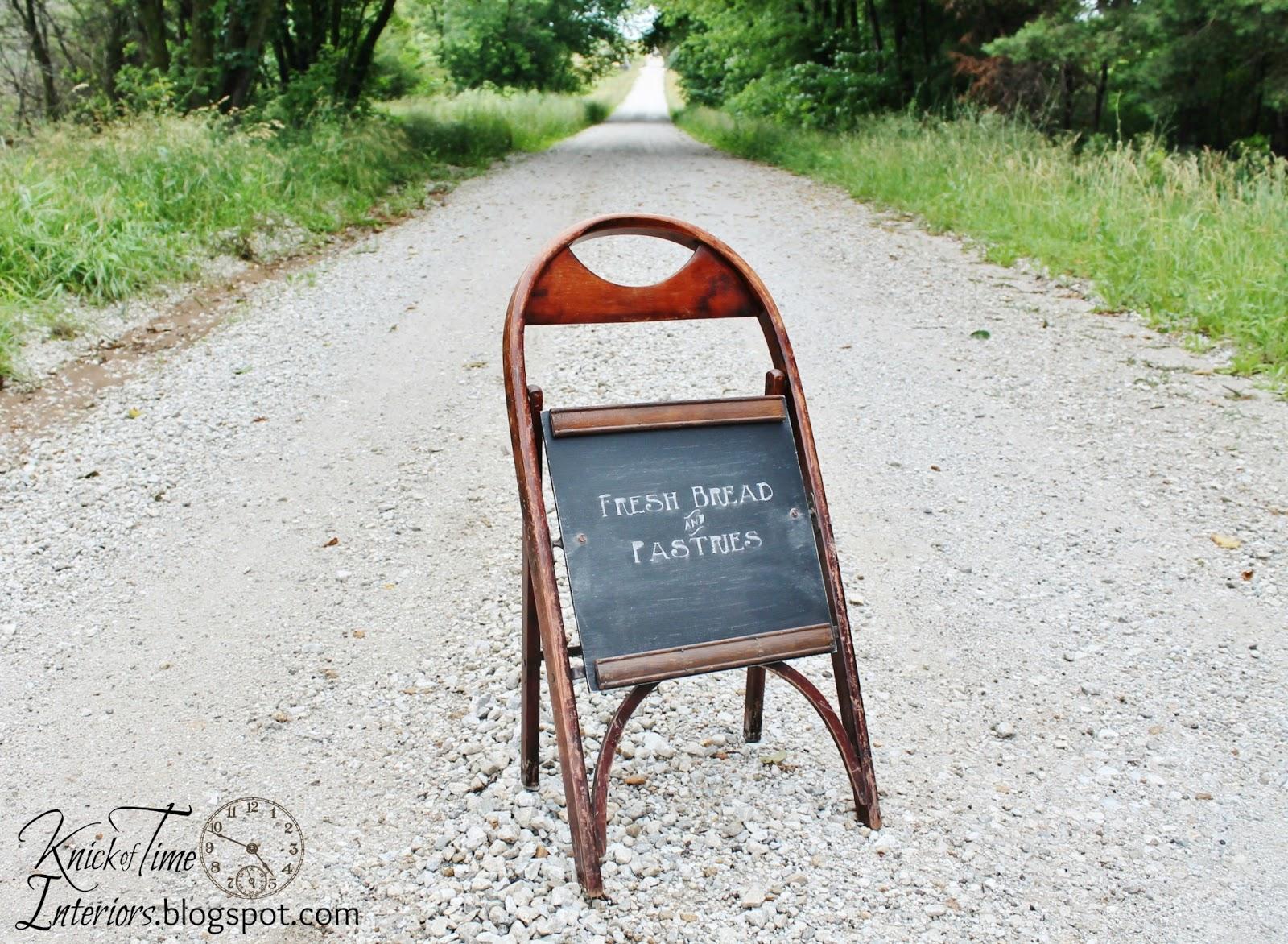 sidewalk chalkboard from folding chair knick of time. Black Bedroom Furniture Sets. Home Design Ideas