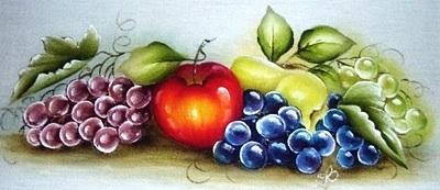 pintura em tecido uvas pano de copa